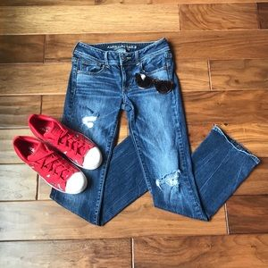 American Eagle Kick Boot Distressed Jeans